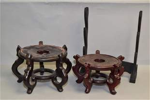 Three Chinese Wood Carved Stands