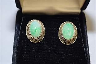 Pr. of 19-20th C. Chinese Silver Jadeite Earrings