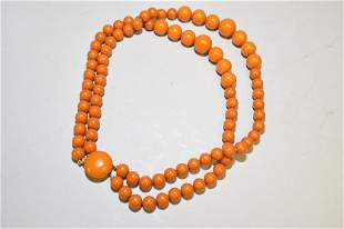 Chinese Faux Butterscotch Egg Yolk Amber Necklace