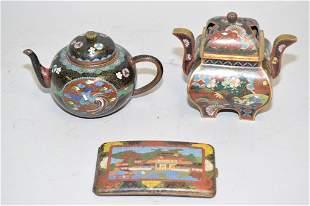 Three 19th C. Japanese Cloisonne Wares