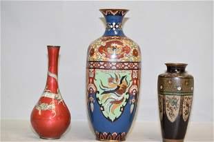 Three 19th C. Japanese Cloisonne Vases