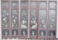 Chinese Black/Red Lacquer Jade Inlay Panel Screen