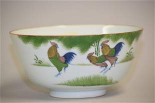 19th C. Chinese Porcelain B&W with Enamel Bowl