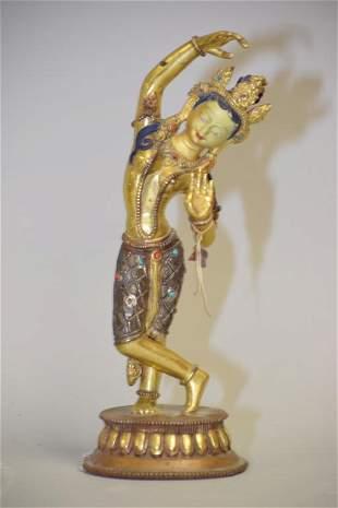 Chinese Tibetan or Nepalese Gilt Bronze Buddha