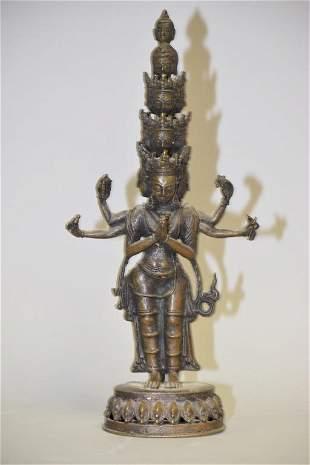 Chinese Tibetan or Nepalese Bronze Buddha