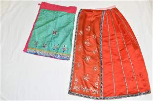 Two Qing Chinese Embroidered Silk Skirts