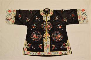 Chinese Black Embroidered Silk Robe