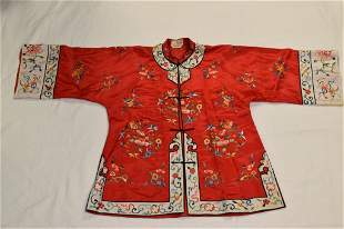 Chinese Red Embroidered Silk Robe