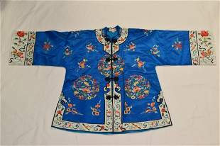 Chinese Blue Embroidered Silk Robe