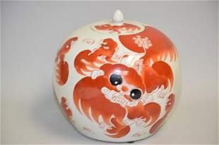 19-20th C. Chinese Porcelain Iron Red Lion Jar