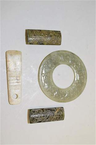 Group of Chinese Jade Carved Amulets