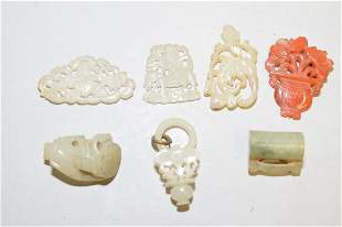 Group of Qing Chinese Jade Carved Amulets