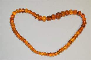 Chinese Amber Carved Bead Necklace