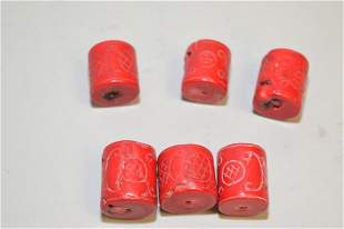 Group of Chinese Natural Coral Carved Beads