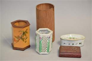 Group of 19-20th C. Chinese Bamboo/Porcelain Study