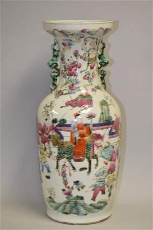 Large 19-20th C. Chinese Porcelain Famille Rose Vase