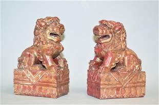 Pr. of 19-20th C. Chinese Gilt Wood Carved Lions