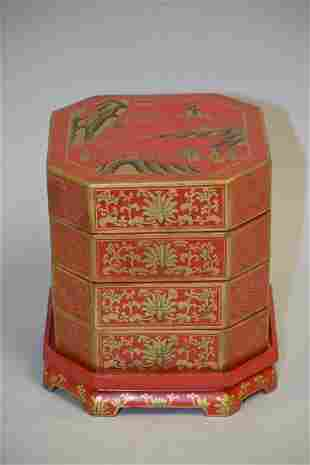 19-20th C. Chinese Gold Painted Red Lacquer Snack Box