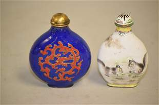 Two 19-20th C. Chinese Enamel over Bronze Snuff Bottles