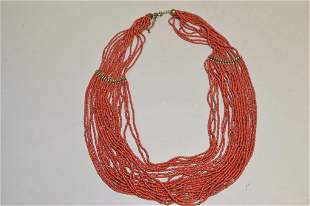 Chinese Natural Red Coral Bead Necklace
