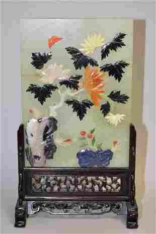 Chinese Precious Stone Inlay Jade Table Screen