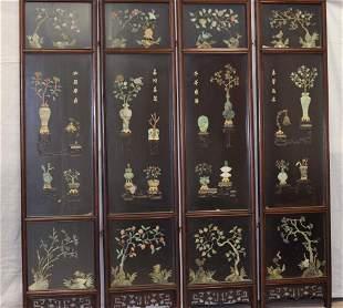 19-20th C. Chinese Jade/Jadeite Inlay Hongmu Screen