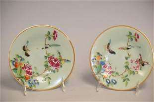 Pr. of 19th C. Chinese Porcelain Pea Glaze Famille Rose