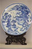 Large 17-18th C. Chinese Porcelain B&W Charger