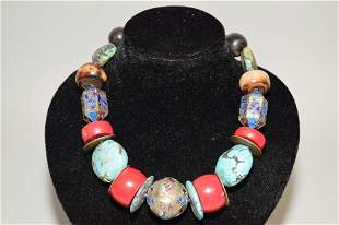 Chinese Silver, Coral, and Turquoise Necklace