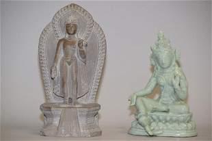 Hindu Carved Stone Buddha and Chinese Porcelain Bu