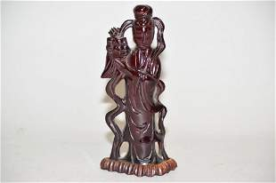 Late Qing Chinese Amber Carved Guanyin