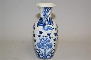 19th C. Chinese Porcelain B&W Phoenix Vase