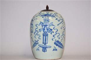 19th C. Chinese Porcelain Pea Glaze B&W Jar