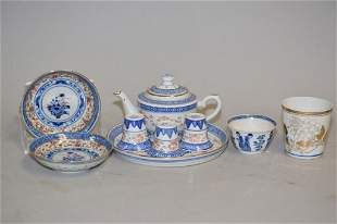 Group of 19-20th C. Chinese Porcelain B&W Tea Ware
