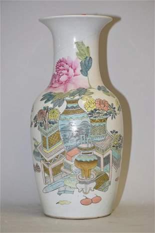 19-20th C. Chinese Porcelain Famillle Verte Vase,F