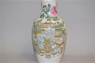 Late Qing Chinese Porcelain Famille Verte Vase, Xu