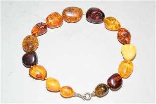 Amber and Butterscotch Egg Yolk Amber Bead Necklac