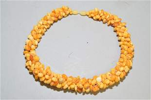 Chinese Butterscotch Egg Yolk Amber Beads Necklace