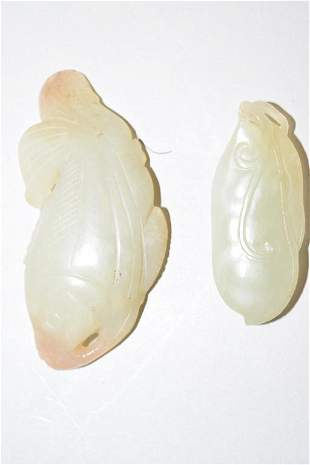 Two 19-20th C. Chinese Jade Carved Amulets