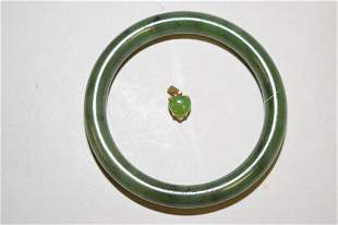Chinese Spinach Jade Bangle Bracelet and Pendant