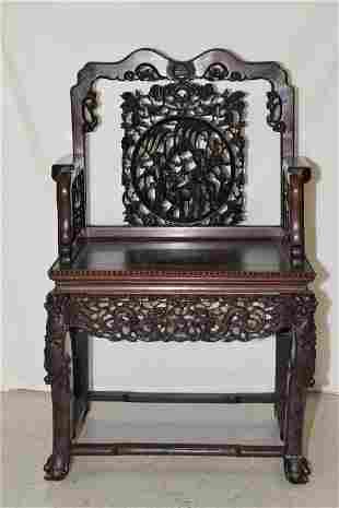 19th C. Chinese Hongmu Carved Armchair
