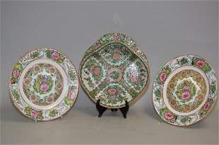 Three 19th C. Chinese Porcelain Famille Rose Medal