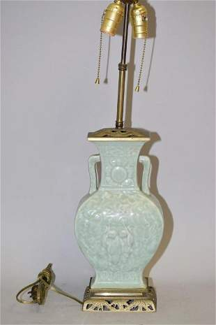 19-20th C. Chinese Porcelain Pea Glaze Relief Vase