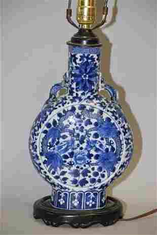 18-19th C. Chinese Porcelain B&W Dragon Moon Flask