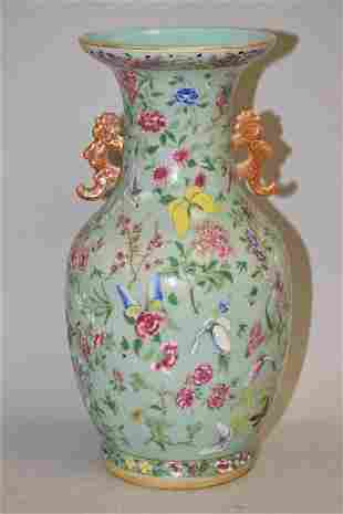 18-19th C. Chinese Porcelain Pea Glaze Famille Ros