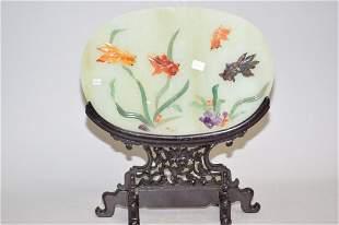 1970-80s Chinese Precious Stone Inlay Jade Table S