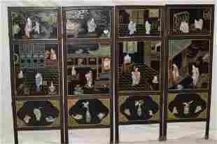 Four 19th C. Chinese Porcelain Inlay Lacquer Scree