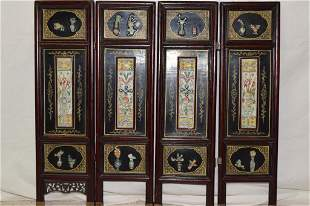 Four 19th C. Chinese Porcelain Plaque Inlay Screen