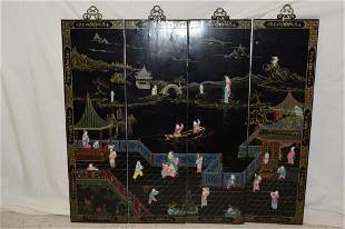 Four 19th C. Chinese Porcelain Inlay Lacquer Hangi