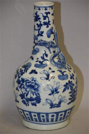19th C. Chinese Porcelain B&W Dragon Vase